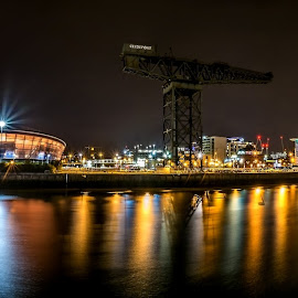 Clydeside at Night by Paul Bradburn - City,  Street & Park  Night ( scotland, clyde, glasgow, night, panorama )