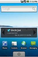 Screenshot of Recent Calls Widget