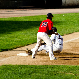 SAFE! by Ken Mccartney - Sports & Fitness Baseball ( sliding, park, hit, third base, baseball, brockton rocks, brockton, slide, bas, swing, pitch, miss )