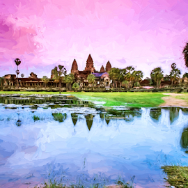 Angkor Wat by Ferdinand Ludo - Digital Art Places ( reflection, angkor wat, cambodia )