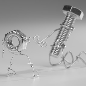 Fall in love by Dobrinovphotography Dobrinov - Artistic Objects Still Life ( idea, hand tool, bolt, screw, white background, equipment, creativity, concepts, close-up, objects/equipment, color image, metal, no people )
