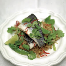 Steamed Thai-style sea bass & rice