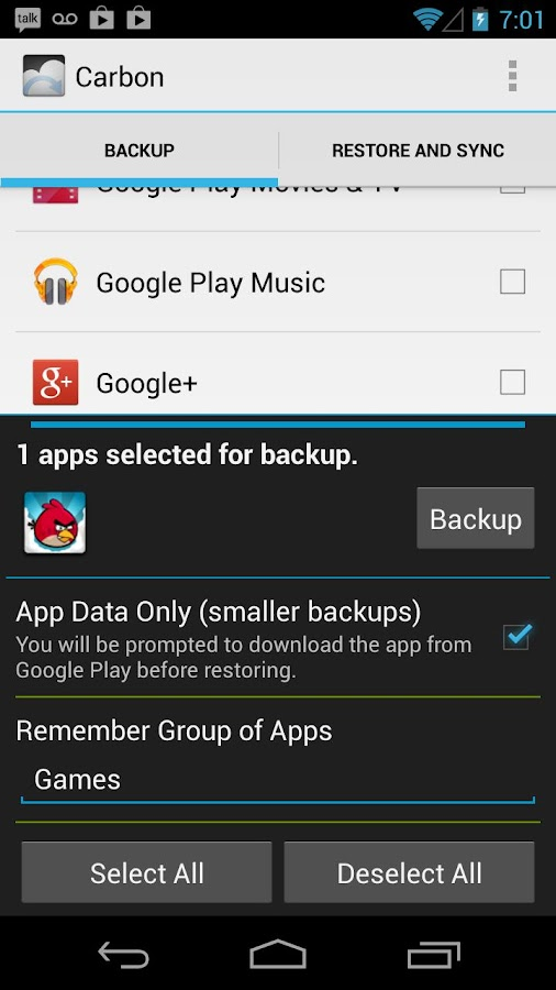 Helium - App Sync and Backup Screenshot 1