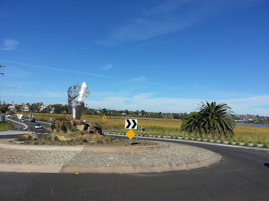The sculpture as focal point of Carlsbad's newly designed traffic circle/roundabout
