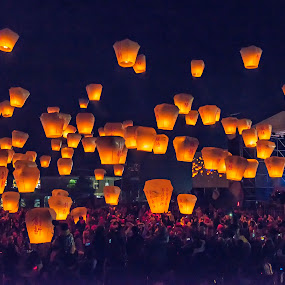 Sky Lanterns by Crispin Lee - City,  Street & Park  Night