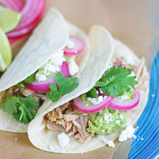 Shredded Pork Tacos With Avocado, Quick Pickled Onions And Queso Fresco