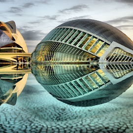 Hemisfèric to the Palau de les Arts by Dark Reid - Buildings & Architecture Public & Historical ( dawn, palau de les arts, hemisferic, reflections, hemisfèric, valencia, spain,  )
