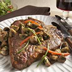 T-Bone Steak with Parmesan-Dusted Mushrooms