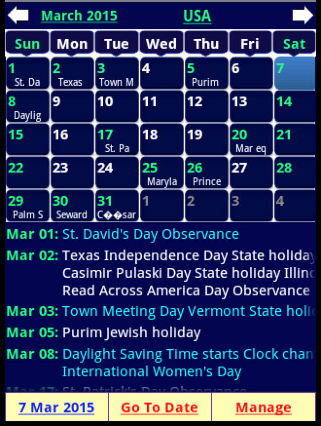 Holiday Calendar Screenshot 12