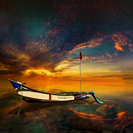 Perahu (Boat) by Sakura Art - Digital Art Places ( boat      sky    sunset )