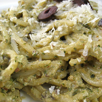 Roasted-Almond Ricotta Pesto with Olives (adapted from Gourmet, August 2009)