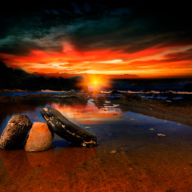 17.37 at sawarna beach by Anthony Bagaskara - Landscapes Waterscapes