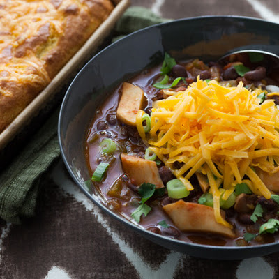King Trumpet Mushroom Chili with Jalapeño-Cheddar Cornbread