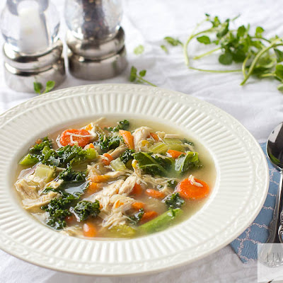 Easy Chicken & Kale Vegetable Soup {Paleo, Gluten Free, Dairy Free, Low Carb} + The Magic of Bone Broth