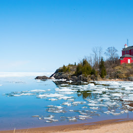 Spring Thaw by Jill Laudenslager - Buildings & Architecture Statues & Monuments ( water, michigan, winter, ice, snow, lighthouse, lake superior, pure michigan )