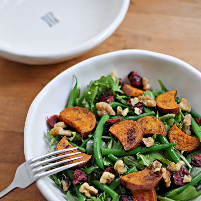 Sweet Potato & Green Bean Salad with Maple-Mustard Dressing