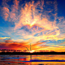 Plethora of Colors by Derrill Grabenstein - Landscapes Sunsets & Sunrises ( clouds, waterscape, ice, sunset, colors, lake,  )