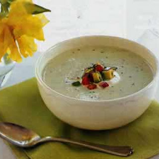 Cucumber and Avocado Soup with Tomato and Basil Salad