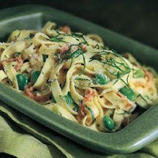 Tagliatelle with Fava Beans, Mascarpone and Prosciutto