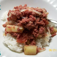 Filipino Corned Beef Hash over Rice