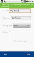 Screenshot of TXT2ePUB