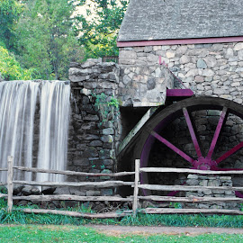 Grist Mill at Wayside Inn, Sudbury, MA by Walter Carlson - Buildings & Architecture Public & Historical ( longfellow, grist mill, stone, water wheel, wayside inn )