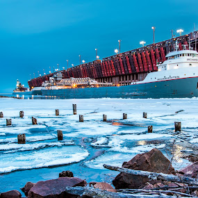 Early Arrivals by Beaver Tripp - Transportation Boats ( shipping, ice, snow, lake superior, thaw, boat )