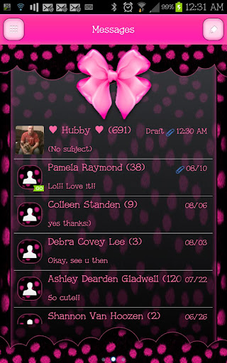GO SMS - Cute Pink Bows