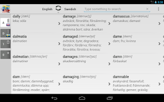Screenshot of Free Dict Swedish English