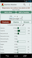 Screenshot of Nutrition Watcher Free
