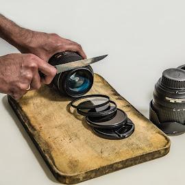 How to chop a lens - Lens Series 1 by Zubair Aslam - Artistic Objects Still Life ( cutting lens, lens chopping, chop a lens, chopping, cutting board )
