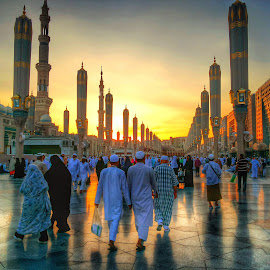 Go to Prayer by Ellys Purwandari - Instagram & Mobile Android ( walking, islam, mosque, sunset, human interest )