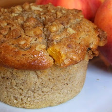 Sweet Peach Muffins with Brown Sugar- Walnut Streusel