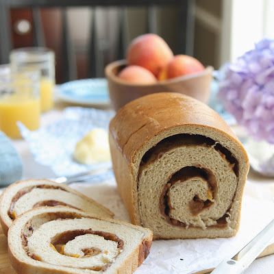 Roasted Peach Cinnamon Swirl Bread
