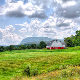 The farm in the hills. by Rosemary Jardine - Landscapes Prairies, Meadows & Fields ( westmore vermont, vermont barn, willoughby gap, vermont country side, red barn )