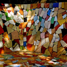 ABSTRACT WALL by Doug Hilson - Abstract Patterns ( pattern, color, broken plates, india, mosaic )