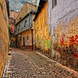 Brasov - Romania by George Nutulescu - City,  Street & Park  Street Scenes