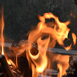Fire - not always destructor by Kaushik Mondal - Novices Only Objects & Still Life ( flames, mud oven, handmade, cooking oven, fire )