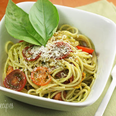 Spaghetti with Garlic Scape Pesto with Tomatoes