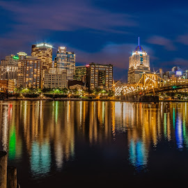 Blue Hour Reflection by Mauricio Fernandez - Buildings & Architecture Bridges & Suspended Structures ( tourest, reflection, blackrapid, vangaurd, d600, travel, landscape, city, bower, bestimages onthenet, placestoshoot, d700, sigma, ishootraw, trip, bestplacestoshoot. downtown, delensmode, howtoshootlongexposure, samyang, tourism, nikonguy, rokinon, urban, vacation, cityporn, mafrotto, d7000, exposureporn, tripod, tour, longexposure,  )