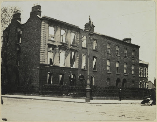 Clanwilliam Place, the corner of Mount Street, scene of some of the heaviest fighting of the Rising