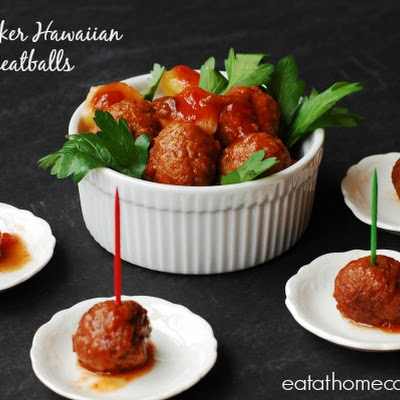 Slow Cooker Hawaiian Luau Meatballs