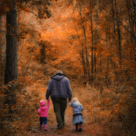 Autumn walk with Daddy by Kelly Murdoch - People Family ( orange, uk, daddy, forsert, leaves, woods, ztam, england, red, season, autumn, family, daughters, walk, fall, color, colorful, nature )
