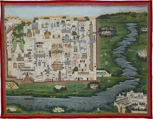 <b>Plan of the Shrinathji Temple at Nathdwara</b> <i>Nathdwara, early 20th Century</i>  This pichhvai depicts the Shrinathji temple