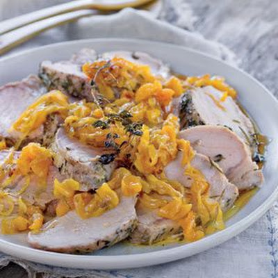 Brined Pork Loin with Apricot-Onion Mostarda