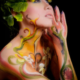 Forest Girl by Happy Akhfadhi - People Body Art/Tattoos ( girl; body painting; art; photography )