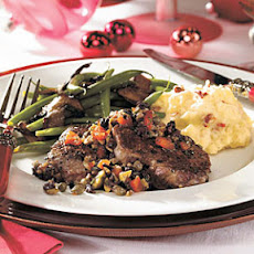 Peppered Beef Tenderloin Medallions with Olive-Herb Relish