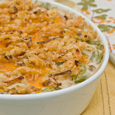 Green Bean Casserole with Mushroom Bechamel & Crispy Onions