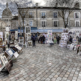 Place du Tertre by Ben Hodges - City,  Street & Park  Street Scenes ( artists, paris, sacre coeur, hdr, montmartre, art, place du tertre, france )