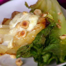 Wilted Romaine Salad with Roasted Pears, Taleggio and Hazelnuts